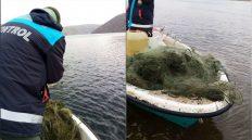 Kapulukaya Barajında 1600 Metre Sahipsiz Ağ Yakalandı