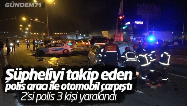 Trafik Kazası: 2'si Polis 3 Kişi Yaralandı