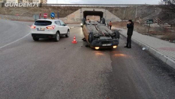 Trafik Kazası; Takla Atan Otomobil Sürücüsü Yaralandı