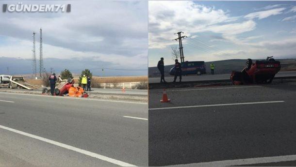 Trafik Kazası; Otomobil Takla Atarak Su Kanalına Devrildi 3 Yaralı