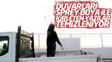Şehri Kirleten Yazılar Kırıkkale Belediyesi Tarafından Temizleniyor