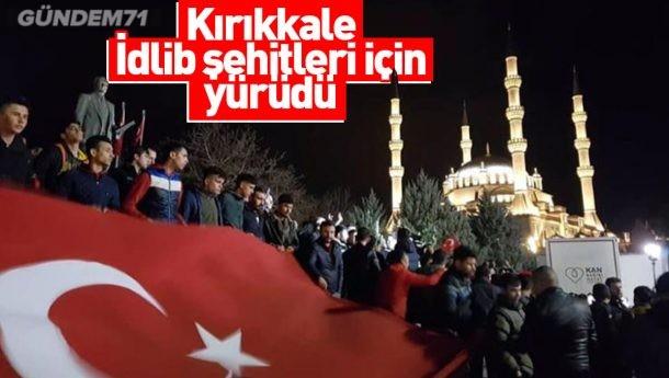Kırıkkale'de Vatandaşlar İdlib Şehitleri İçin Yürüdü