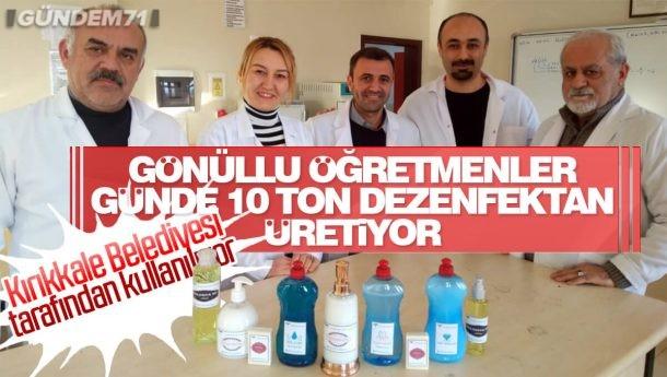 Keskin'de Gönüllü Öğretmenler Günlük 10 Ton Dezenfektan Üretimi Yapıyor
