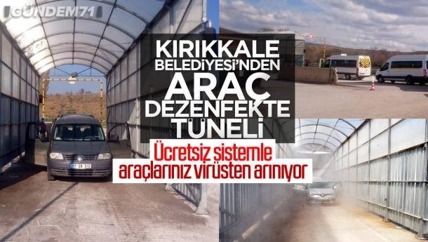Kırıkkale Belediyesinden Ücretsiz Araç Dezenfektan Tüneli Sistemi