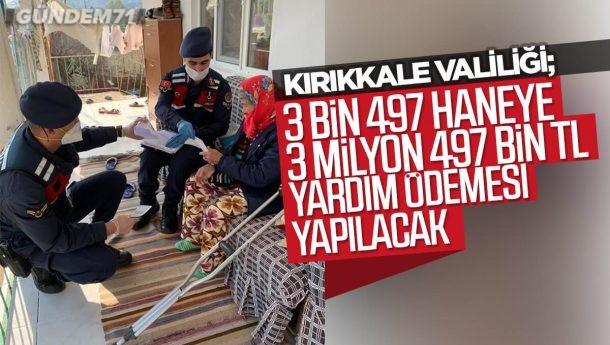 Kırıkkale'de 3 Bin 497 Haneye, 3 Milyon 497 Bin TL Yardım Ödemesi Yapılacak
