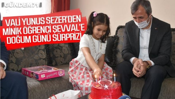 Vali Sezer'den Minik Öğrenciye Doğum Günü Sürprizi