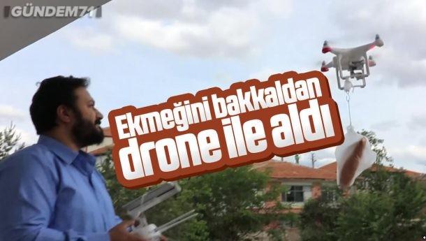 Kırıkkale'de Sokağa Çıkamayan Kişi Ekmeğini Bakkaldan Dronla Aldı