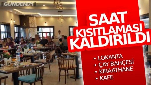Restoran ve Kafelere Yönelik Saat Kısıtlaması Kaldırıldı