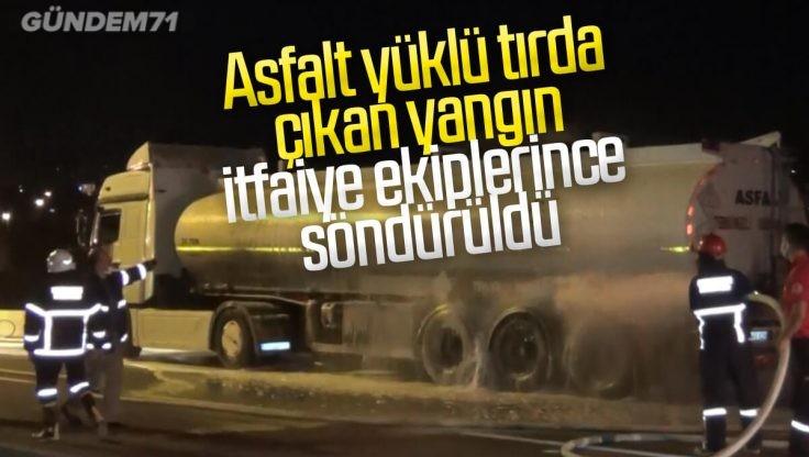 Kırıkkale'de Asfalt Yüklü Tırda Çıkan Yangın İtfaiye Ekipleri Tarafından Söndürüldü