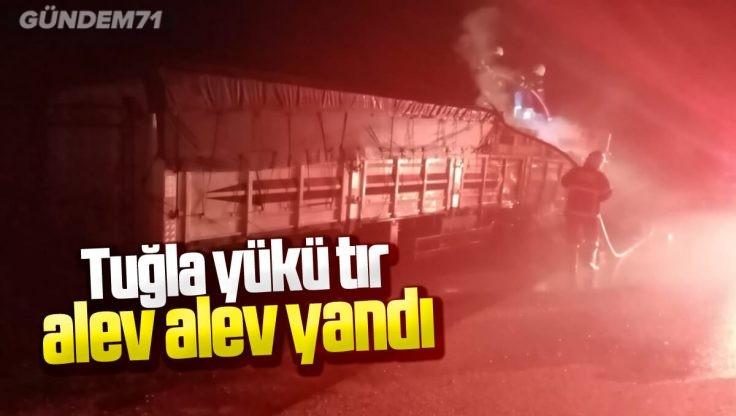 Kırıkkale'de Tuğla Yüklü Tır Alev Aldı