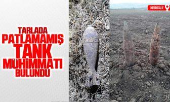 Kırıkkale'de Tarlada Patlamamış Tank Mühimmatı Bulundu