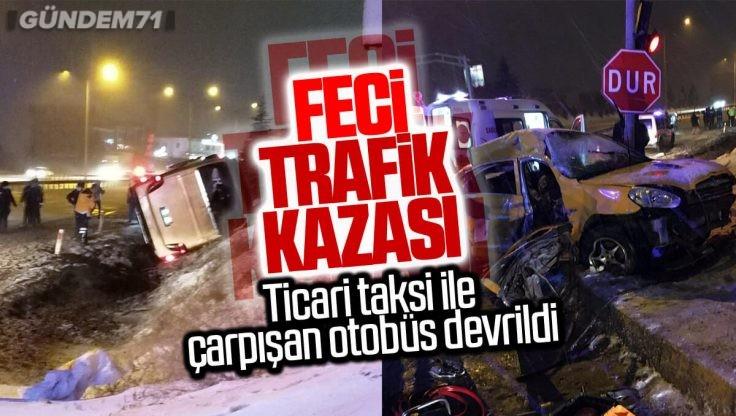 Kırıkkale'de Trafik Kazası; Yolcu Otobüsü Ticari Taksi İle Çarpıştı