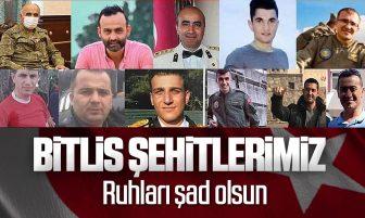 Bitlis Şehitlerimizin Kimlikleri ve Memleketleri Belli Oldu