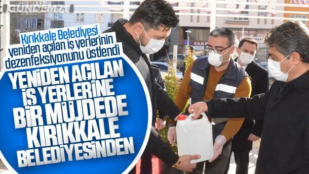 Kırıkkale Belediyesi Yeniden Açılan İş yerlerinin Dezenfeksiyonunu Üstlendi