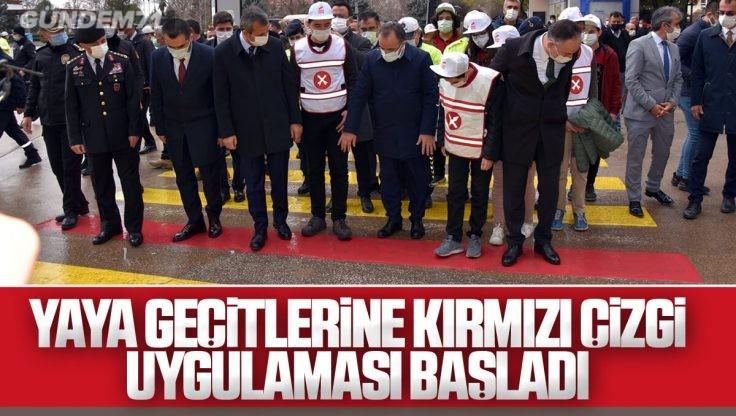 Kırıkkale'de Yaya Geçitlerine 'Kırmızı Çizgi' Uygulaması