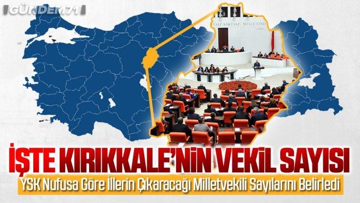 YSK Nüfusa Göre İllerin Çıkaracağı Milletvekili Sayılarını Belirledi; İşte Kırıkkale'nin Milletvekili Sayısı