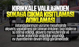 Kırıkkale Valiliğinden Sokağa Çıkma Kısıtlaması Açıklaması