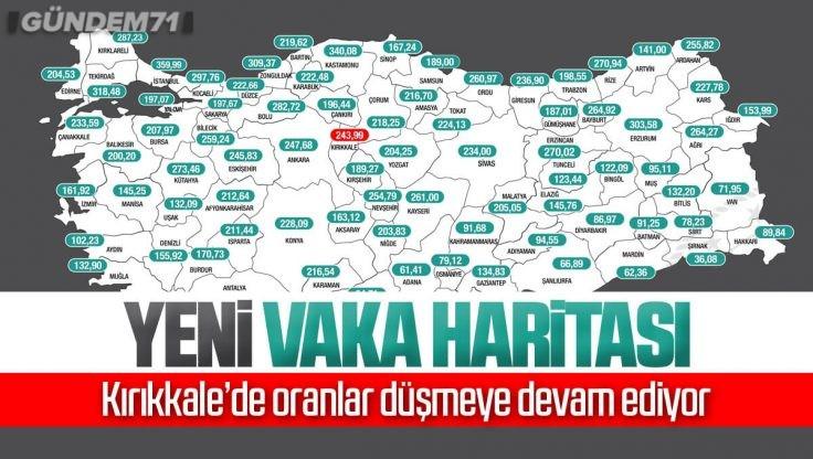İllere Göre Haftalık Vaka Haritası Açıklandı; Kırıkkale'de Vaka Sayısı Düşmeye Devam Ediyor