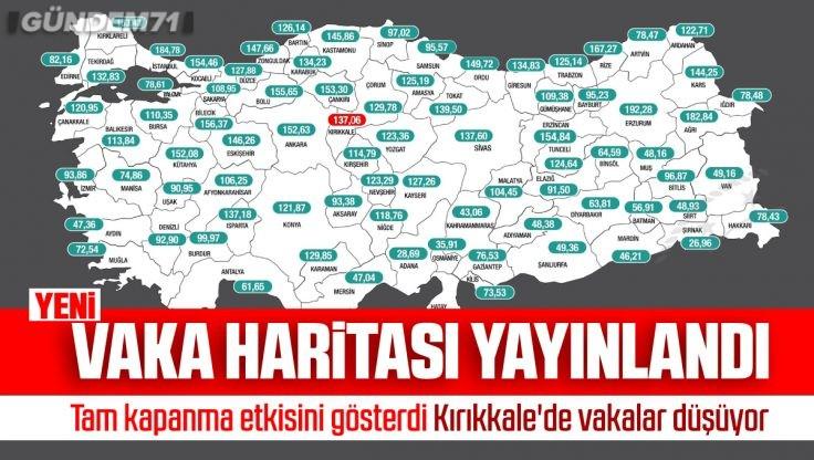 İllere Göre Haftalık Vaka Haritası Açıklandı; Kırıkkale'de Vakalar Azalmaya Devam Ediyor
