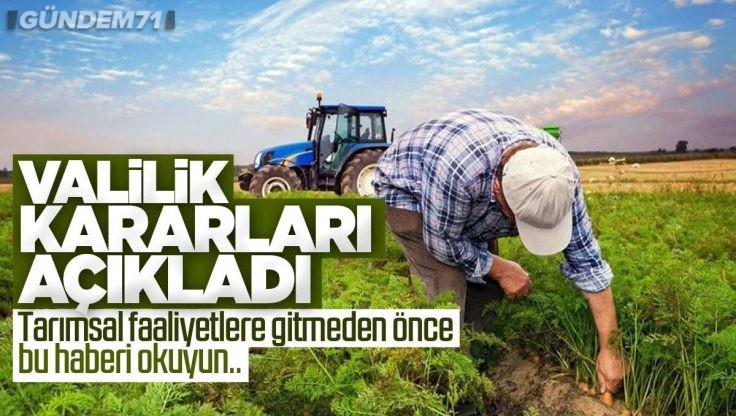 Kırıkkale Valiliği'nden Tarımsal Faaliyetler İçin İzin Belgesi Açıklaması